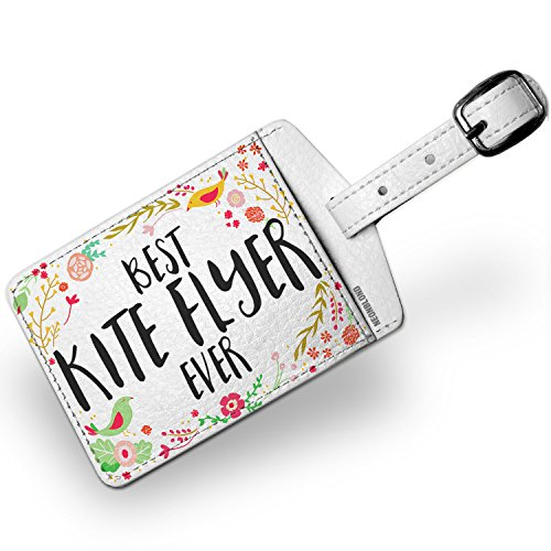 Luggage Flyer Tag (Luggage Tag Happy Floral Border Kite Flyer - NEONBLOND)
