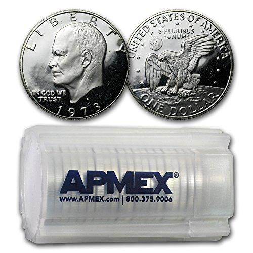 Eisenhower Dollar Roll (1973 S 40% Silver Eisenhower Dollar 20-Coin Roll Gem Proof $1 Brilliant Uncirculated)