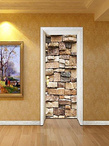 zhiyu&art decor Stone Peel and Stick Wallpaper Brick Wallpaper 3D Door Wallpaper Decal Door Murals Contact Paper Self Adhesive Wallpaper Shelf Paper Wall Paper for Living Room Home Dec(Brick Stone) -