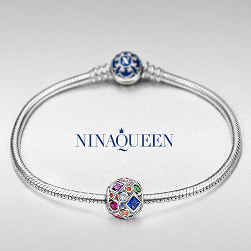 """NinaQueen """"Summer Rainbow"""" 925 Sterling Silver Colorful Openwork Bead Charms"""