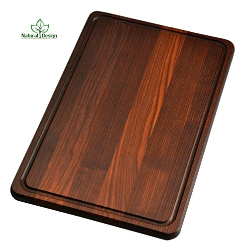NaturalDesign Cutting Board 18 x 12 x 0.8 in Edge Grain Chopping Block with Juice Groove Thermo Ash-tree Wood Hardwood Extra Thick Serving Platter Durable & Resistant Dark