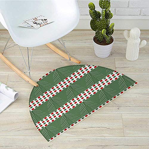 Geometric Half Round Door mats Pine Tree Design with Curved Lines Chevrons Vibrant Polka Dots Bathroom Mat H 15.7