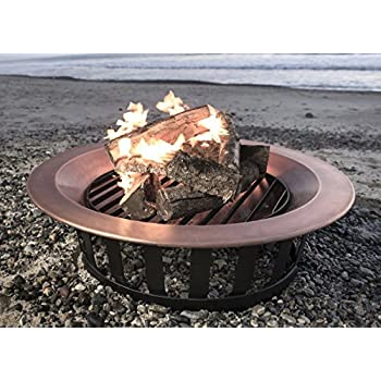 "40"" Solid 100% Copper Fire Pit Bowl Wood Burning Patio Frontgate Deck Grill"