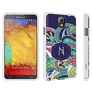 DuroCase ? Samsung Galaxy Note 3 Hard Case White - (Mint Flower Monogram N)