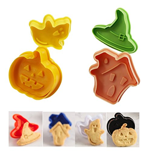 (Halloween Theme Cookie Cutter Set By Garloy(4 Pack), Wizard Hats Ghosts Pumpkins Shaped for Cutting Decorations,Direct Embossing, Spring-loaded Handle, Food Safe Plastic(Colors May)