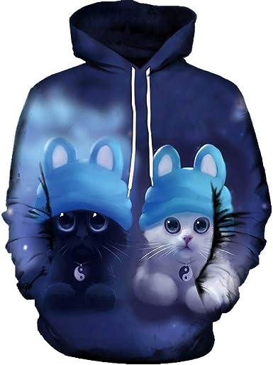 3D Cat Print Men Womens Halloween Hoodie Sweatshirt Pullover Jumper Hooded Tops