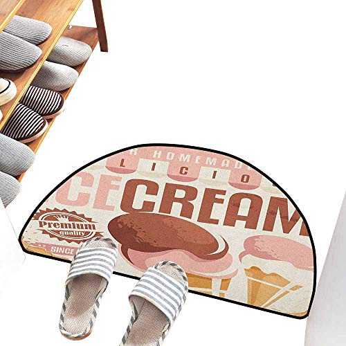 Axbkl Semicircular Door mat Ice Cream Pop Art Style Nostalgic Homemade Ice Cream Emblem Graphic Print Easy to Clean W36 xL24 Pale Pink Chocolate Yellow]()