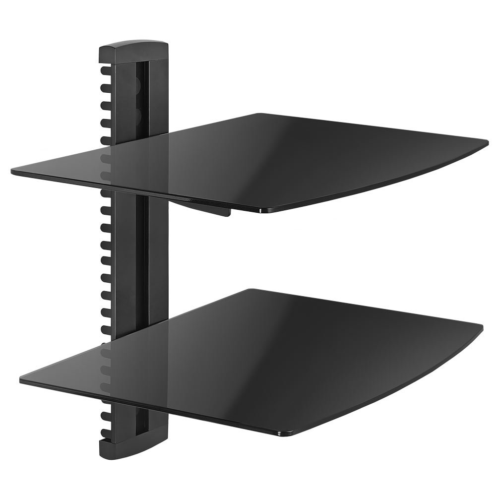 Cmple - Economy Aluminum and Tempered Glass DVD Mount Two Shelves