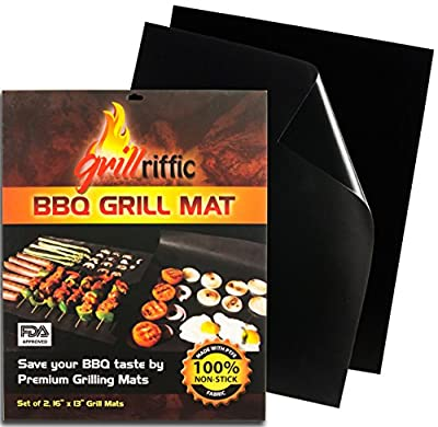 Grill Mat, Baking Mat, BBQ Grill Mat – 100% Non-Stick BBQ Grill Mats By Grill-Riffic - Oven/Microwave Cooking Mat, Heavy Duty, Reversible, Reusable, Heat Resistant, Premium Material, Dishwasher Safe from Heaven's ARK Enterprise