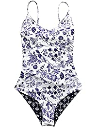 Fashion Light up The Night Print One-Piece Swimsuit Beach Swimwear Bathing Suit