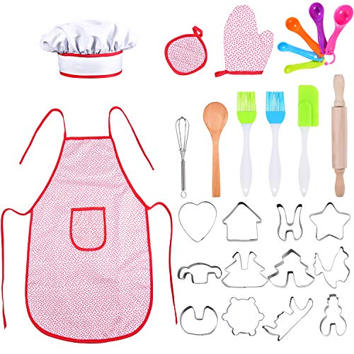 LOAMO Kids Cooking and Baking Set - 27 Pcs, Toddler Dress Up Chef Costume Career Role Play Set with Apron, Chef Hat, Mitt & Utensil for Boys and Girls, Great