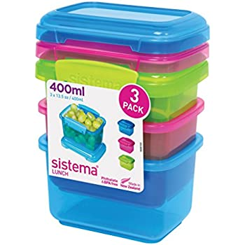 Sistema Lunch Collection Food Storage Containers, Assorted Colors, 13.5  Ounce/1.6 Cup Each
