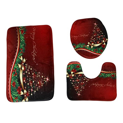 QISC 3-Piece Merry Christmas Decorations Happy Santa Toilet Seat Cover and Rug Set (G) - Laurel Elongated Toilet Seat