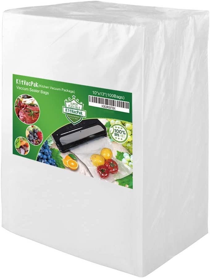 KitVacPak 100 Quart 10X13 Food Saver Vacuum Sealer Bags with Commercial Grade, BPA Free, Heavy Duty.Vacuum Sealer Freezer Bags Compatible with FoodSaver,Weston,Seal a Meal plus Other Machine.