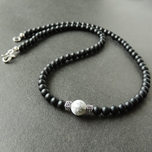 - Men and Women Necklace Handmade with 5mm Matte Black Onyx 8mm White Howlite Healing Gemstone and Genuine 925 Sterling Silver Spacers & Unique Design S-Hook