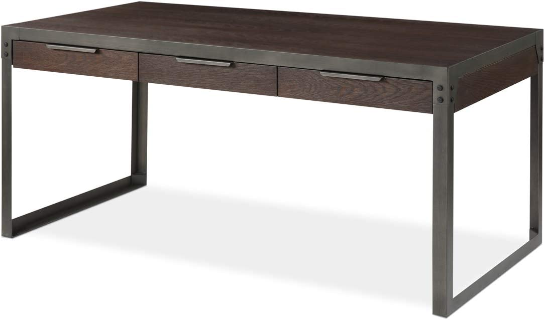 Landia Home Desk - Home Office Writing and Computer Workstation, Rustic and Industrial Design with Metal Frame and Oak Manufactured Wood Veneer