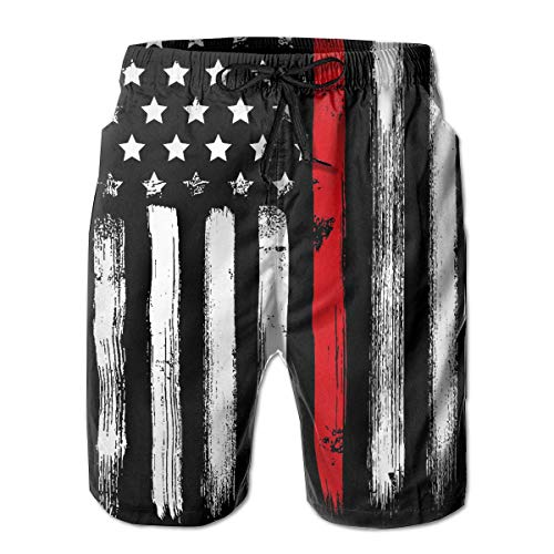 (Mens Short Swim Trunks with Mesh Lining Quick Dry Boy Mens Board Shorts Swim Suit - Firefighter Thin Red Line American)