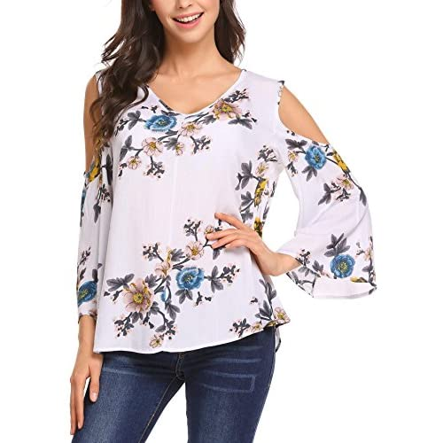 cd4dabf49589 chic ELESOL Women's Floral Print Chiffon Blouse Top Cold Shoulder Flare  Sleeve Tops Shirt