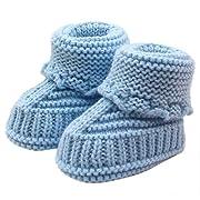 Tenworld Newborn Baby Knitting Boots Warm Crochet Shoes 0-6 Months (Blue)