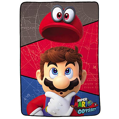 Nintendo Super Mario Odyssey Soft Plush Microfiber Kids Bedding Blanket, Twin/Full Size 62