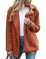 BDCUYAHSKL Herfst en winter vrouwen casual mode revers pluche knoopsluiting zakken losse lange mouwen lamswol vest jas vrouwen