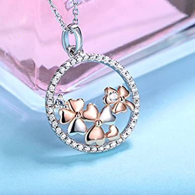 Collier Pendentif Id/éal Cha/îne 45+5cm Cadeau Femme Original J.Ros/ée Argent 925 Bijoux Femme//Fille 5A Zirconium cubique