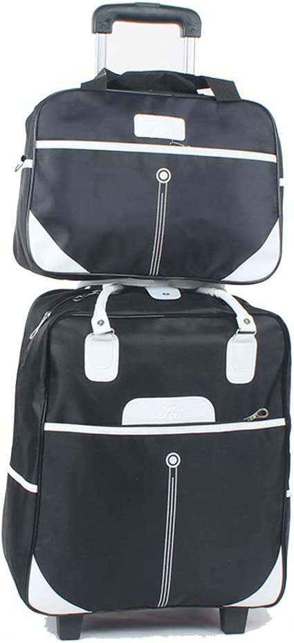 Travel Bags Hand Drag Short-Distance Baggage 2//4 Round Trolley Case Luggage Suitcases Carry On Hand Luggage Durable Hold Tingting Color : Black-2wheel, Size : Double