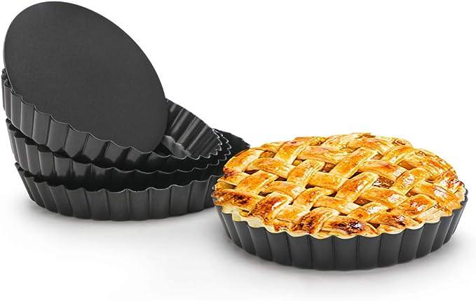 evebel 6 Pack Mini Tart Pan Round Non-Stick Quiche Pan Removable Bottom Mini Tart Tins 4 inch