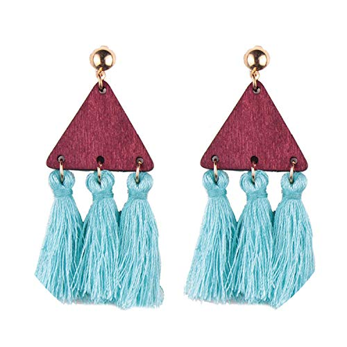 - personality small triangle string short tassel earring national wind wild earrings a generation,blue