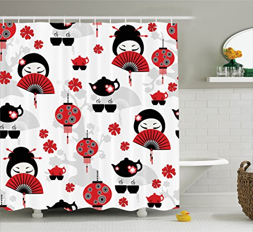 Ambesonne Lantern Decor Collection, Geisha Japanese Fan Ancient Chinese Traditional Tea Pot Lanterns Floral Graphic Design, Polyester Fabric Bathroom Shower Curtain Set with Hooks, Black Red