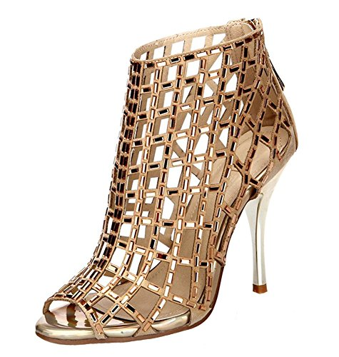 Jiandick Womens Rhinestone Ankle Bootie Prom Heeled Sandals Evening Dress Stiletto High Heel, Gold, 10 B(M) US