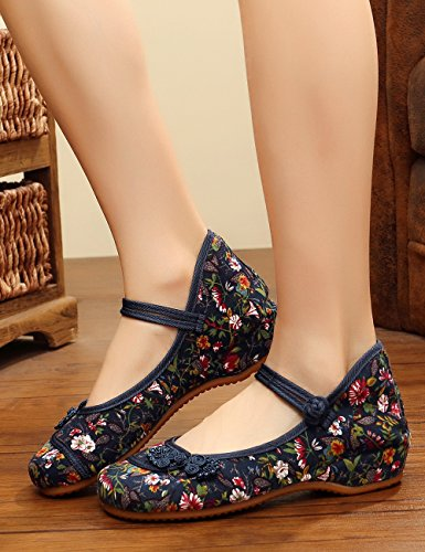 Small Stamp Souple Jane Noues Chaussures Flats Bleu Chinois Semelle Mary Canvas Casual Fowers Femmes wCwxq