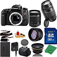 Great Value Bundle for T6S DSLR – 18-55mm STM + 75-300mm III + 32GB Memory + Wide Angle + Telephoto Lens + Case