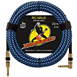Rig Ninja 1/4 Guitar Cable by NinjaMuso - 20ft Blue Right Angle - Low Noise Electric and Acoustic Guitar and Bass Patch Cords - 20 Feet Amp Cord for Musical Instrument to Amplifier