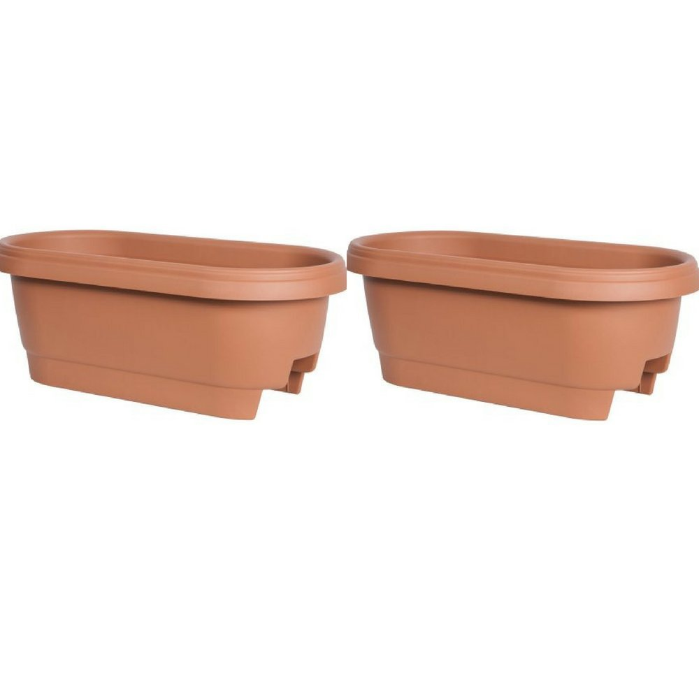 Bloem Deck Rail Planter 24 inch Terra Cotta, Pack of 2
