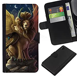 ZCell / Sony Xperia Z2 D6502 / Lion Snake Ancient Symbols Now Moon / Caso Shell Armor Funda Case Cover Wallet / León serpiente Antiguo S&i