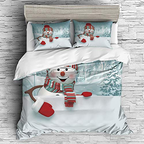- iPrint All Season Flannel Bedding Duvet Covers Sets for Girl Boy Kids 4 Pcs (Double Size) Snowman,Smiling 3D Style Mascot with Hat and Scarf Snowy Mountains Trees Seasonal Happy Decorative,Multicolor