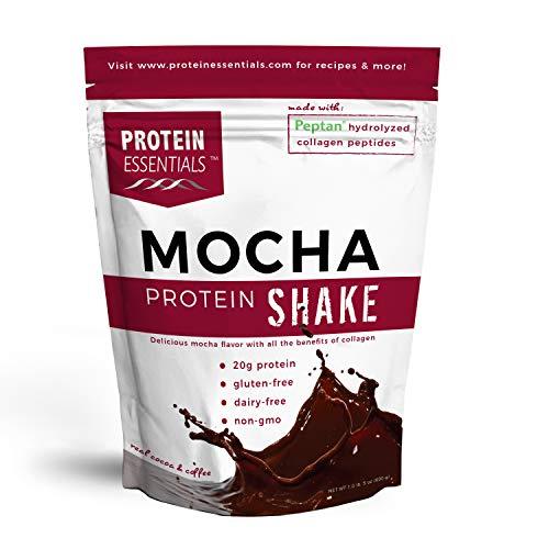 Protein Essentials Chocolate Collagen Protein Powder Shake, Non GMO and Organic Ingredients (21oz) (Mocha Flavor)