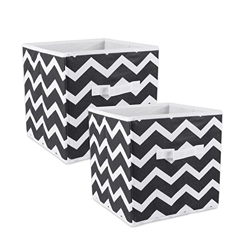 (DII Fold-able Fabric Storage Container, 11 x 11 x 11-Inch, Set of 2, Black Chevron, Small)