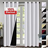 100% Blackout Curtains for Living Room Faux Silk Double Layer Curtains Room Darkening Thermal Insulated Energy Saving Grommet Window Treatment Panel - 2 Panels (White, 52 by 84-inch)