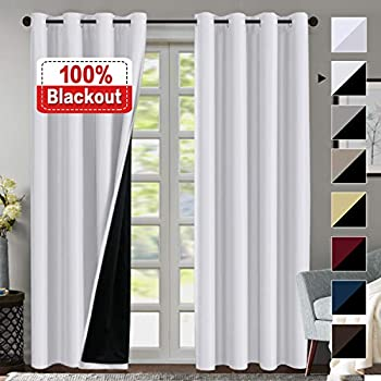 Amazon Com 100 Blackout White Curtains For Bedroom 84