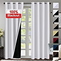 100% Blackout White Curtains for Bedroom 96 Inch Faux Silk Blackout Curtains Double Layer White for Living Room, Energy Saving Curtains for Sliding Glass Doors, Grommet Blackout Drapes