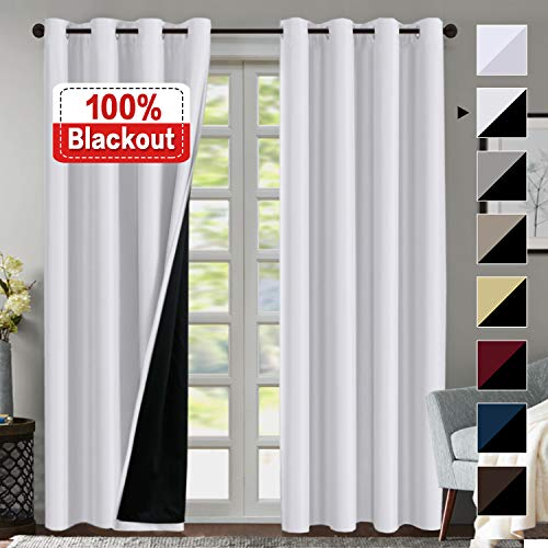 100% Blackout White Curtains for Bedroom 84 Inches Long, Thermal Insulated Blackout Curtains for Living Room, Light Blocking & Energy Saving Double Layer Curtains 2 Panel White, Grommet - Room Curtain Blackout