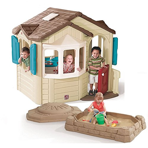 Step2 Naturally Playful Welcome Home Playhouse and Sandbox Combo for Kids - Durable Plastic House and Activity Box with Lid Playset