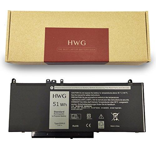 HWG G5M10 Battery (4-Cells) for Dell Latitude E5550 E5450 E5570 Notebook 15.6 inch, fits 0WYJC2 8V5GX R9XM9 WYJC2 1KY05 (7.4V 51WH)