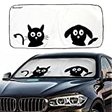 #4: Car Windshield Sunshade with Pet Design, IC ICLOVER Cute Cartoon Design Front Auto Car Windshield Sun Shade Folding Silvering Sun Visor - UV Coating for UV Ray Deflector (59