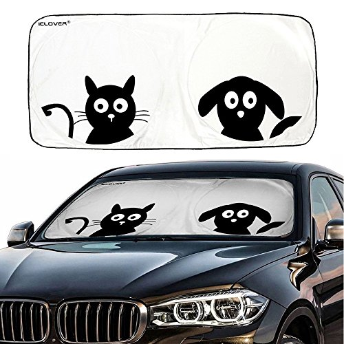 "Car Windshield Sunshade with Pet Design, IC ICLOVER Cute Cartoon Design Front Auto Car Windshield Sun Shade Folding Silvering Sun Visor - UV Coating for UV Ray Deflector (59""x33"")"