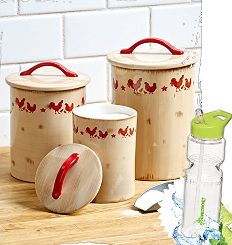 Gift Included- Kitchen Decorative Theme Rooster Collection Canisters, Bowls or Baker + FREE Bonus Water Bottle byHomecricket (Set of 3 Canisters)