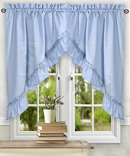 Swag Plaid Curtain (Simple Comfort Stacey 60-by-38 Inch Ruffled Swag Curtain (Slate))