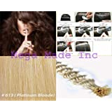 """New 25 Strands Deep Wave Curly Pre Bonded U Nail Tip Fusion Remy Human Hair Extensions 22"""" Inches--# 613 Platinum Blonde"""